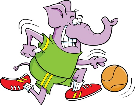 Cartoon illustration of an elephant playing basketball Stock Vector - 15821532