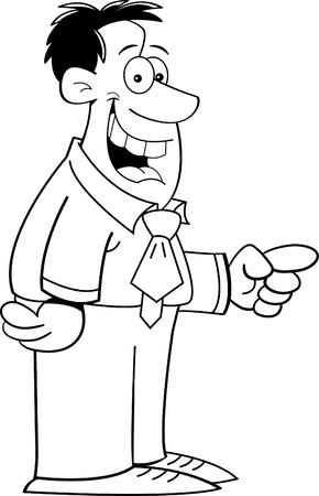 Black and white illustration of a smiling man pointing Illusztráció
