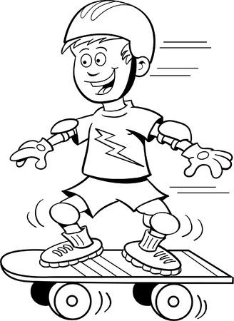 deportes caricatura: Ilustración de dibujos animados de un niño montando una patineta