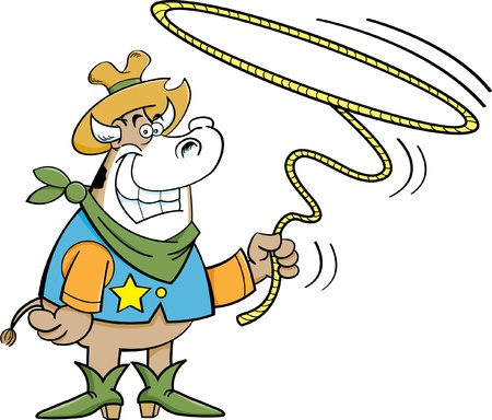 twirling: Cartoon illustration of a cowboy cow twirling a lariat