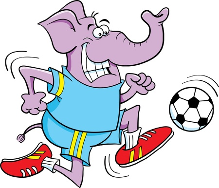 Cartoon illustration of an elephant playing soccer