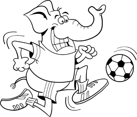 Black and white illustration of an elephant playing soccer