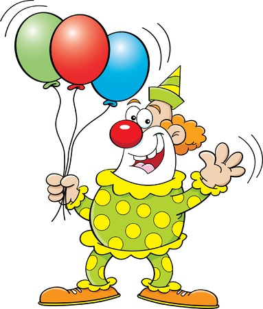 Cartoon illustration of a clown holding balloons Illusztráció