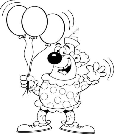 Black and white illustration of a clown holding balloons Ilustração