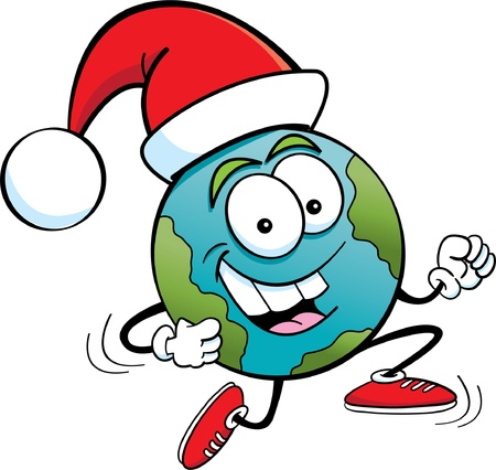 Cartoon illustration of the earth wearing a Santa hat
