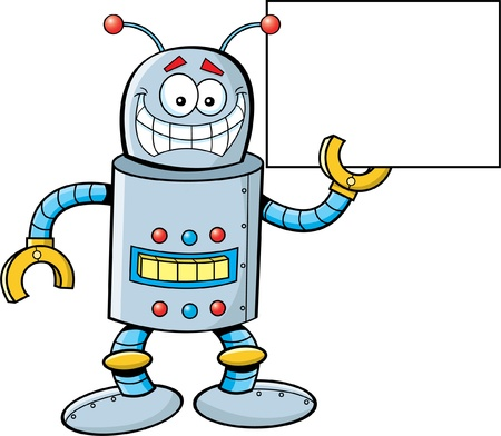 Cartoon illustration of a robot holding a sign Vector