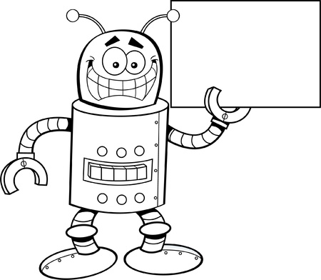 tin: Black and white illustration of a robot holding a sign