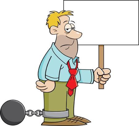 Cartoon illustratie van een man met een bal en ketting en met een bordje