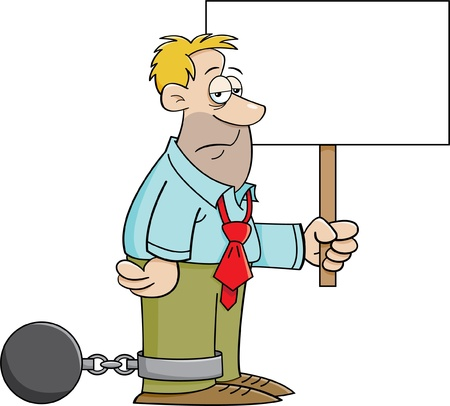 convict: Cartoon illustration of a man wearing a ball and chain and holding a sign Illustration