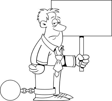 Zwart-wit afbeelding van een man met een bal en ketting en met een bordje Stock Illustratie