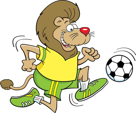 running: Cartoon illustration of a lion playing soccer