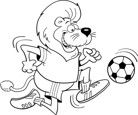 Black and white illustration of a lion playing soccer Stock Vector - 15984211