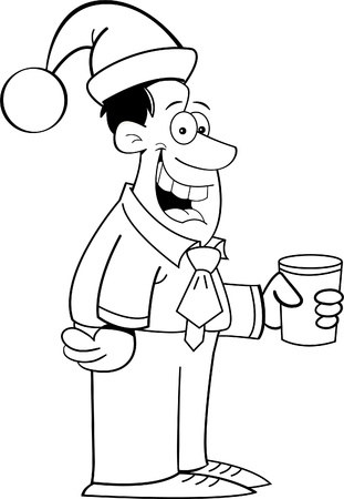 office party: Black and white illustration of a smiling man wearing a Santa hat Illustration