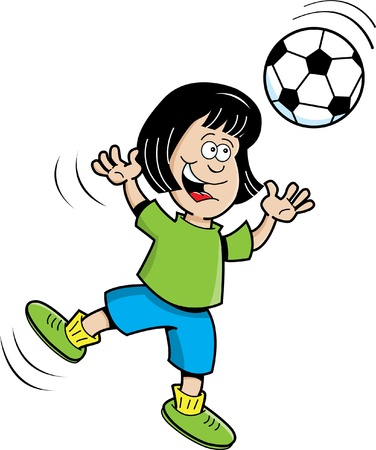 humorous: Cartoon illustration of a girl playing soccer