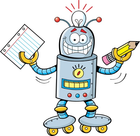 Cartoon illustration of a robot holding a paper and a pencil