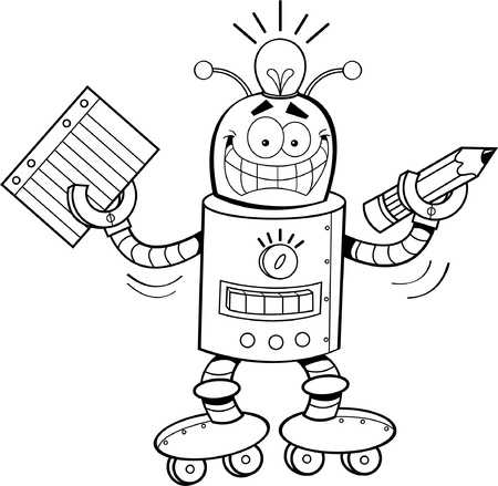 Black and white illustration of a robot holding a paper and a pencil