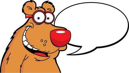caption: Cartoon illustration of a bear with a caption balloon Illustration