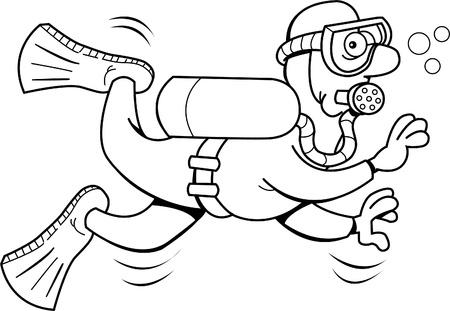 Black and white illustration of a scub diver Stock Illustratie