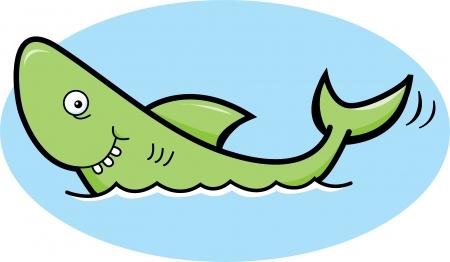Cartoon illustration of a smiling green shark Stock Vector - 15984214
