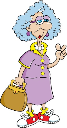 Cartoon illustration of a elderly lady holding a purse  Illustration