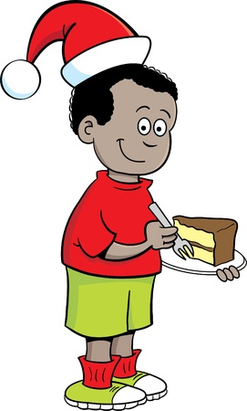Cartoon illustration of a boy wearing a Santa hat Stock Vector - 16115052