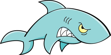 underwater fishes: Cartoon illustration of an angry shark