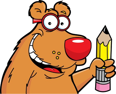 Cartoon illustration of a bear with a wearing glasses and holding a pencil   Illustration