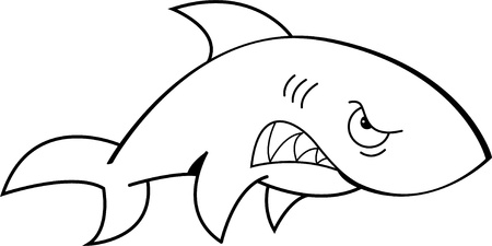 underwater fishes: Black and white illustration of an angry shark