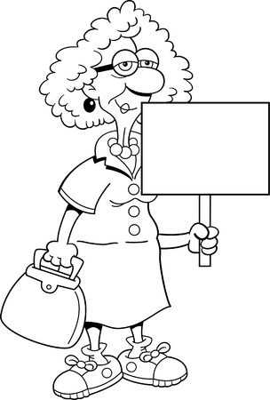 Black and white illustration of a senior citizen women holding a sign