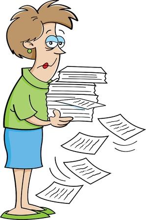 ersch�pft: Cartoon Illustration von einer Frau h�lt Papiere Illustration