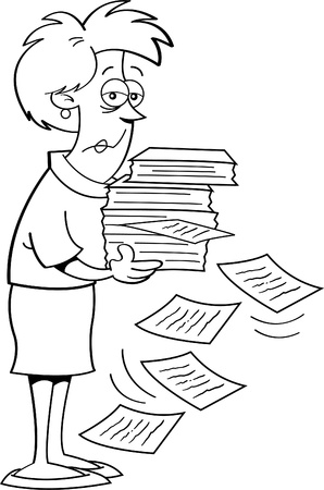 Black and white illustration of a women holding papers