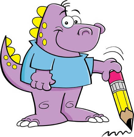 Cartoon illustration of a dinosaur holding a pencil  Vector