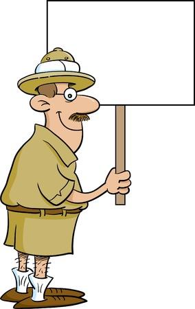 Cartoon illustration of an explorer holding a sign