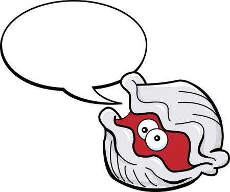 Cartoon illustration of a clam with a caption balloon
