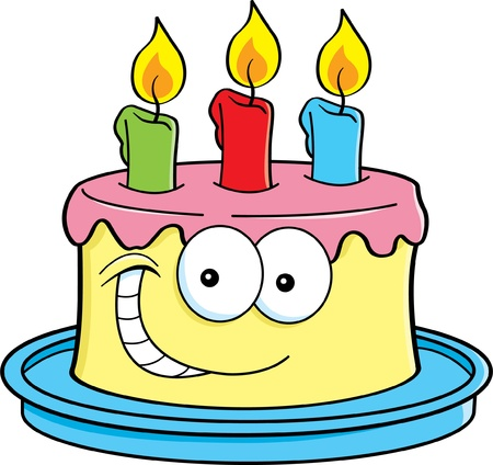 Cartoon illustration of a cake with candles  Ilustracja