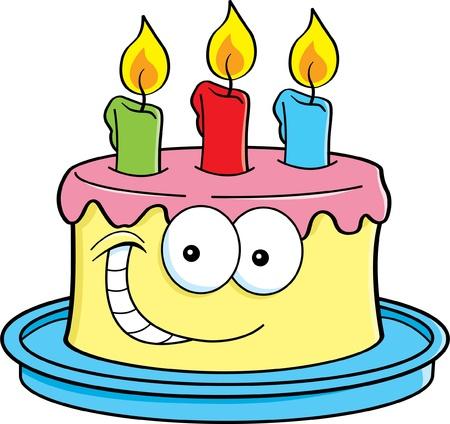 tortas de cumpleaños: Cartoon ilustración de una torta con velas