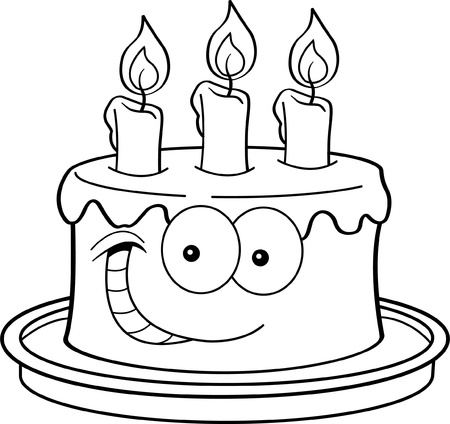 Black and white illustration of a cake with candles  Illustration