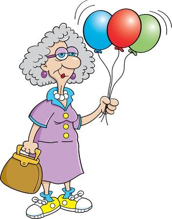 balloon woman: Cartoon illustration of a senior citizen holding balloons