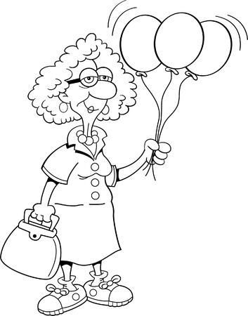 Black and white illustration of a senior citizen holding balloons