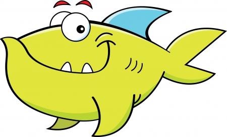 smirking: Cartoon illustration of a smiling fish