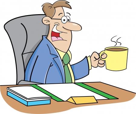 Cartoon illustration of a man drinking coffee  Illustration