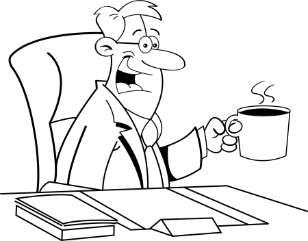 Black and white illustration of a man drinking coffee Stock fotó - 16366765