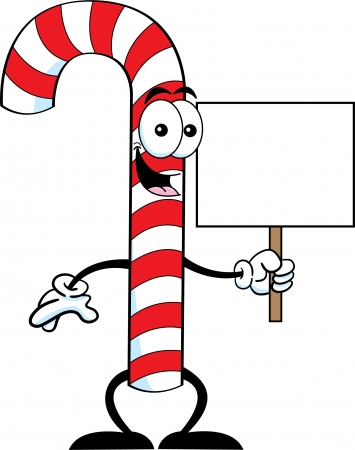 december 25th: Cartoon illustration of a candy cane holding a sign