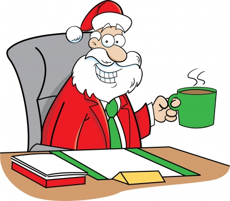 Cartoon illustration of Santa Claus in a business suit sitting at a desk drinking coffee
