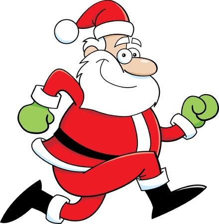 running: Cartoon illustration of Santa Claus running
