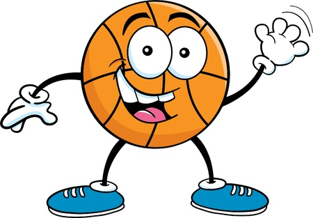 Cartoon illustration of a basketball waving