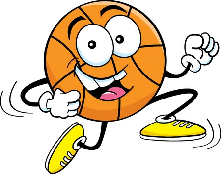 Cartoon illustration of a basketball running  Vector