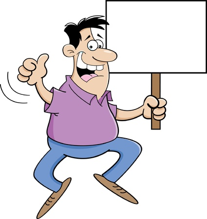 Cartoon illustration of a man jumping and holding a sign  Ilustracja