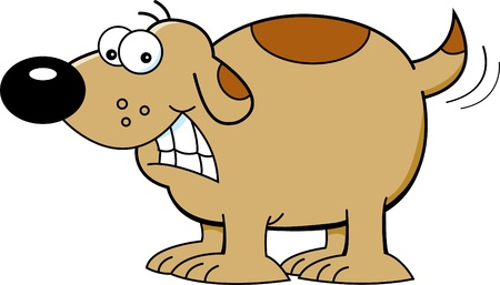 Cartoon illustration of a dog wagging its tail