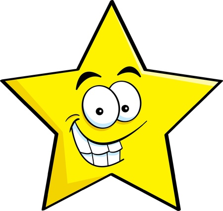estrella caricatura: Ilustración de dibujos animados de una estrella sonriente Vectores
